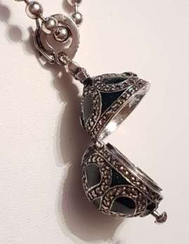 Sterling Silver Marcasite with Green Enamel and Garnet Faberge Style Egg (which opens) Pendant on Sterling Silver Chain