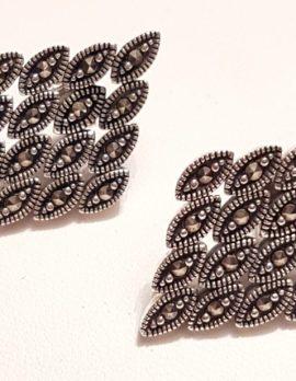 Sterling Silver Marcasite Flexible Large Stud Earrings