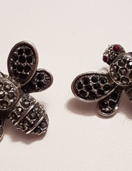 Sterling Silver Marcasite & Cubic Zirconia Large Butterfly Stud Earrings - Available in Black or Clear