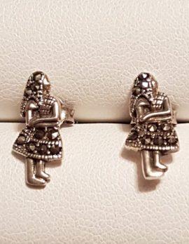 Sterling Silver Marcasite Girl Stud Earrings