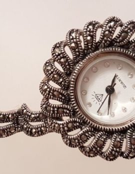 Sterling Silver Marcasite Large Round Watch