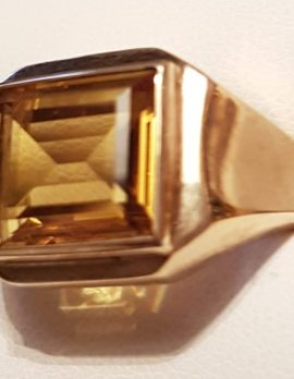 9ct Gold Rectangular Yellow Stone Gents Ring