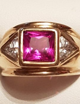 9ct Gold Wide Handmade Cubic Zirconia Ring