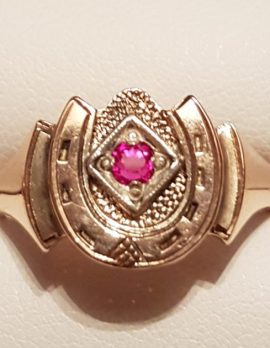 9ct Rose Gold Horseshoe Ring with Ruby