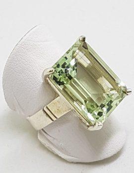 Sterling Silver Green Amethyst / Prasiolite Rectangular Claw Set Ring