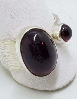 Sterling Silver Cabochon Garnet Ring Oval and Round Wide Ring