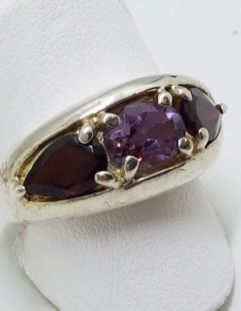 Sterling Silver Garnet and Amethyst Wide Ring