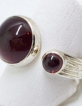 Sterling Silver Cabochon Garnets Wide RingSterling Silver Cabochon Garnets Wide Ring
