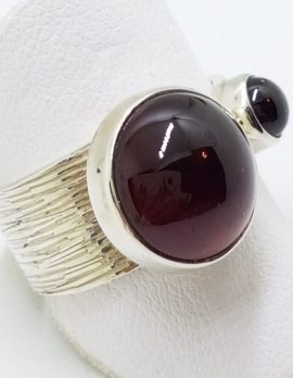 Sterling Silver Cabochon Garnets Wide Ring