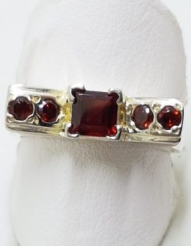 Sterling Silver Garnet Square & Round Ring