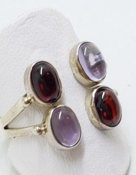 Sterling Silver Cabochon Garnet and Amethyst Ring
