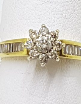18ct Gold Diamond Daisy with Baguette Diamond Shoulders Engagement Ring
