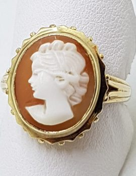 9ct Yellow Gold Oval Cameo Ring