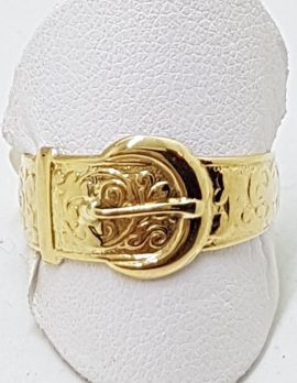 9ct Gold Ornate Buckle Ring - Keeper