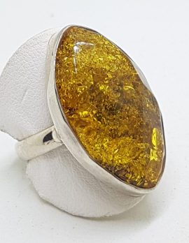 Sterling Silver Large Green Faceted Amber Ring - Marquis Shape