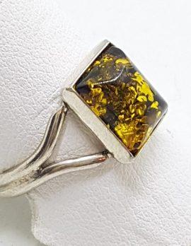 Sterling Silver Green Amber Rectangular Ring