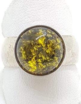 Sterling Silver Round Green Amber Ring