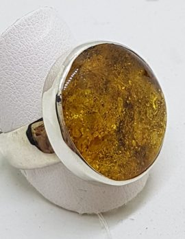 Sterling Silver Round Natural Amber Ring - Wide Band