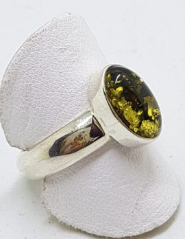 Sterling Silver Green Amber Ring - Oval