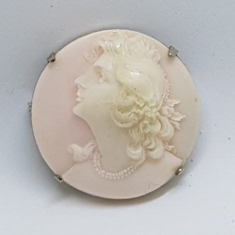 Gold Lined Round Pink Shell Lady Cameo Brooch