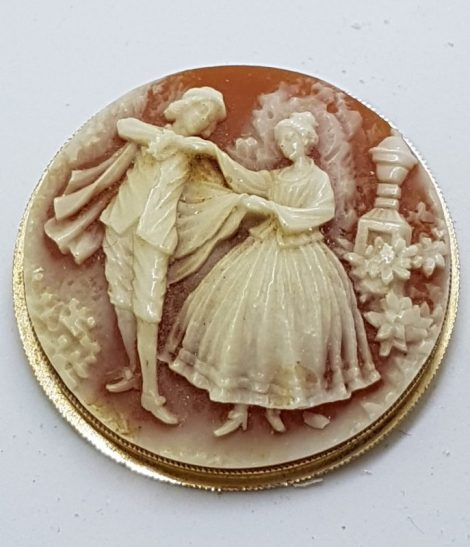 Gold Plated Large Round Couple Cameo Brooch