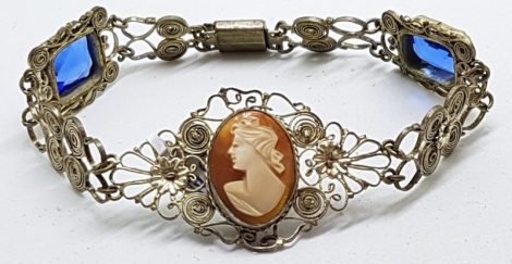 Silver Plated Filigree Costume Cameo with Blue Stone Bracelet