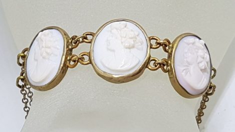 Gold Lined Pink Shell Lady Cameo Bracelet