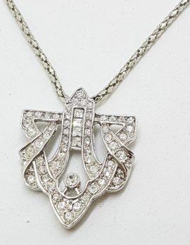 Silver Plated Swarovski Crystal Ornate Pendant on Chain - Art Deco Style