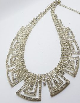 Silver Plated Large Rhinestone Necklace