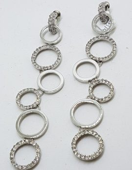 Silver Plated Swarovski Crystal Long Drop Earrings