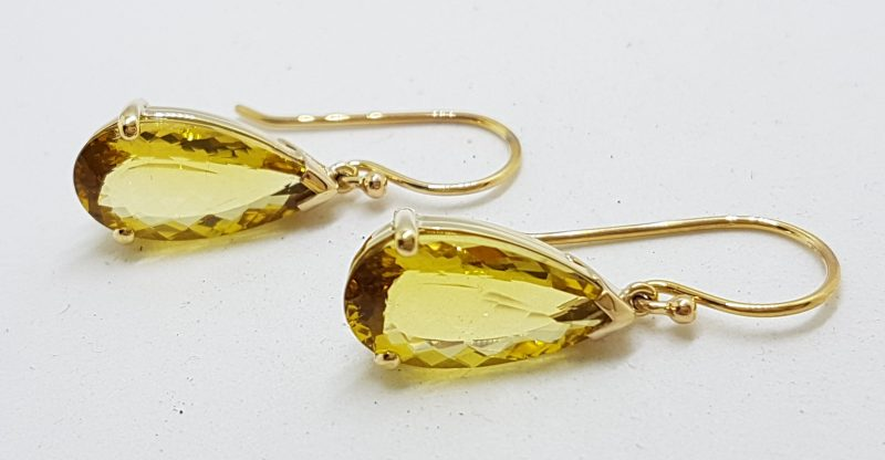 9ct Yellow Gold Teardrop Shape Lemon Citrine Drop Earrings