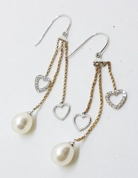 9ct Yellow Gold with White Gold Pearl & Diamond Heart Long Drop Earrings
