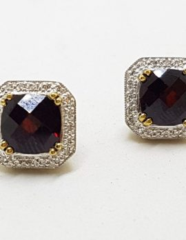 9ct Gold Garnet and Diamond Encrusted Square Stud Earrings