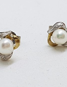 9ct Yellow Gold Pearl and Diamond Stud Earrings - Smalll