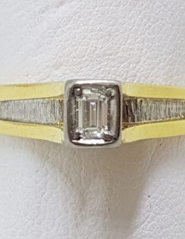 18ct Yellow Gold & Platinum High Set Baguette Diamond Ring