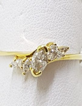 18ct Yellow Gold Marquis and Round Diamond Cluster Ring