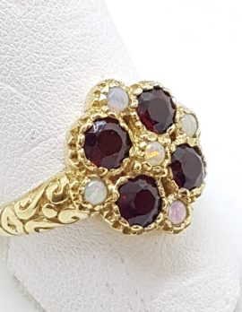 9ct Yellow Gold Garnet & Opal Cluster Ring