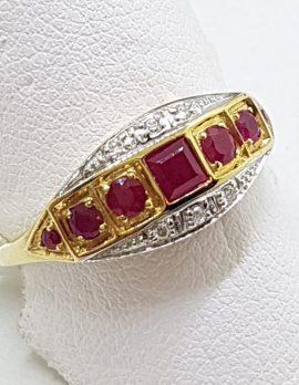 9ct Yellow Gold Natural Ruby & Diamond Bridge Set / Eternity Art Deco Style Ring