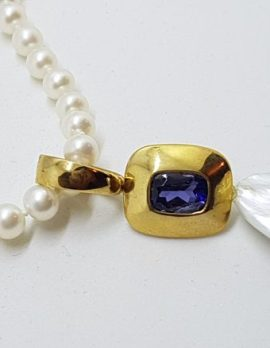 14ct Yellow Gold Long Handmade Iolite & Baroque Pearl Enhancer Pendant on Pearl Chain