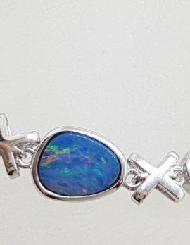 Sterling Silver Blue Opal Bracelet - Cross / Kisses ( X ) Design
