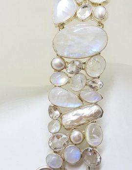 Sterling Silver Wide Moonstone, Pearl, Clear Quartz Bracelet