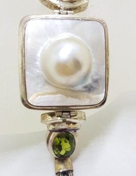 Sterling Silver Square Mabe Pearl. Peridot and Amethyst Bracelet