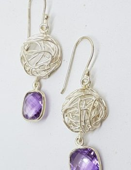 Sterling Silver Amethyst Twist Long Earrings