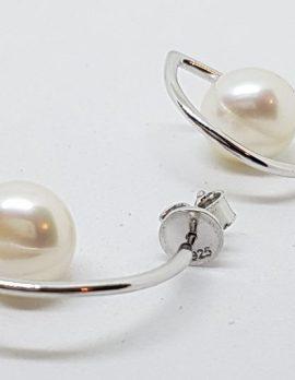 Sterling Silver Pearl Half Hoop Style Earrings