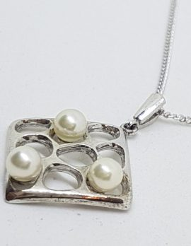 Sterling Silver Mikimoto Pearl Square Pendant on Sterling Silver Chain