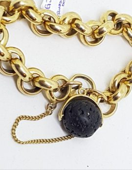 9ct Yellow Gold Swedish Designer Lava Ball Padlock Clasp on 9ct Gold Belcher Link Bracelet