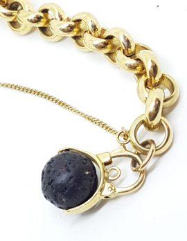 9ct Yellow Gold Swedish Designer Lava Ball Padlock Clasp on 9ct Gold Belcher Link Bracelet