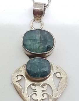 Sterling Silver Ornate Emerald Pendant on Sterling Silver Chain