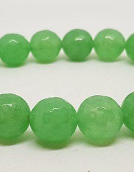 Burmese Faceted Jade Bead Elastic Bracelet