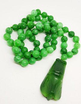 Burmese Jade Bead Necklace with Scarab Beetle